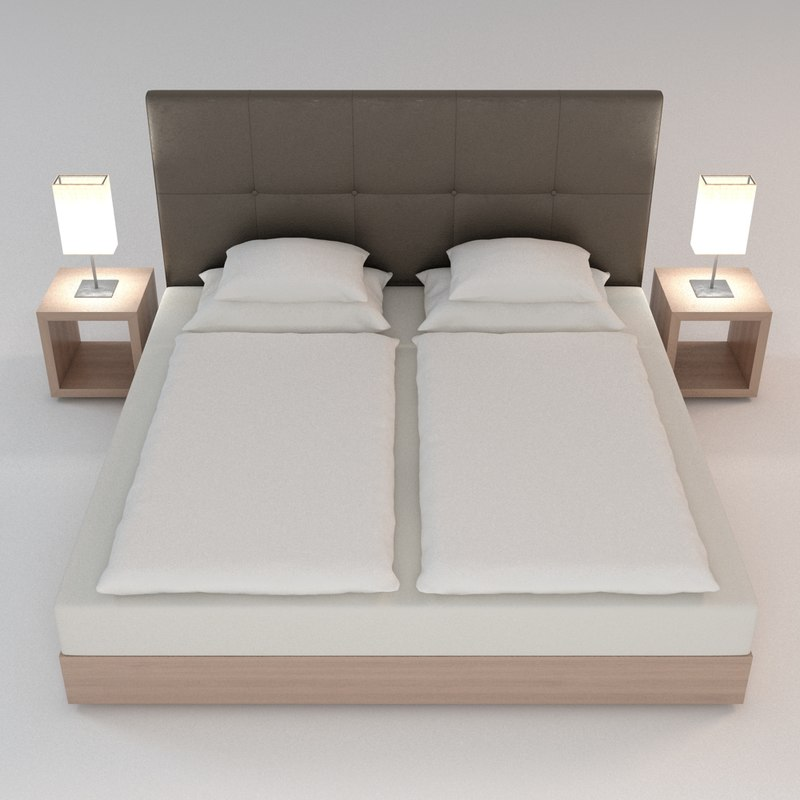 3d model nightstand scene bed
