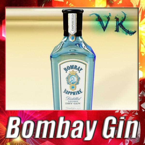 photorealistic bottle bombay sapphire 3d 3ds