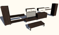 3D Model Modern cabinet set with television