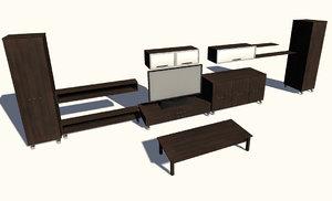 modern cabinet set television 3d obj