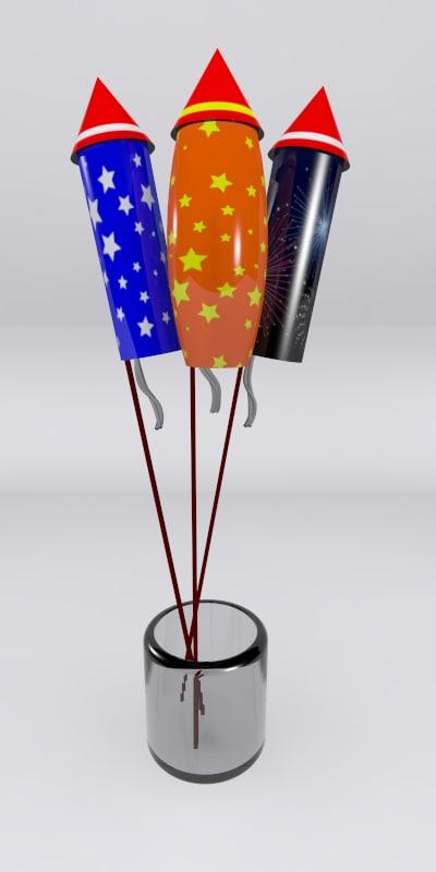 3d fireworks work model