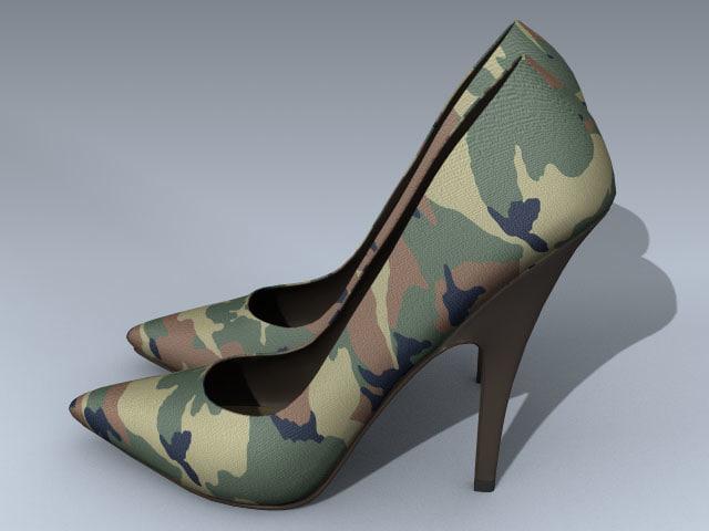 stiletto heel shoes camouflage 3d model