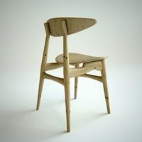 3d oak dining chair carl model