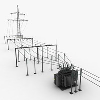 3d components switch yard sub-station model