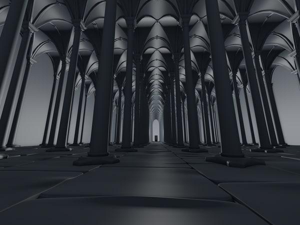underground gothic vault 3d c4d
