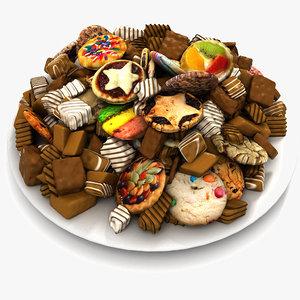 3d model pies cookies plate chocolate