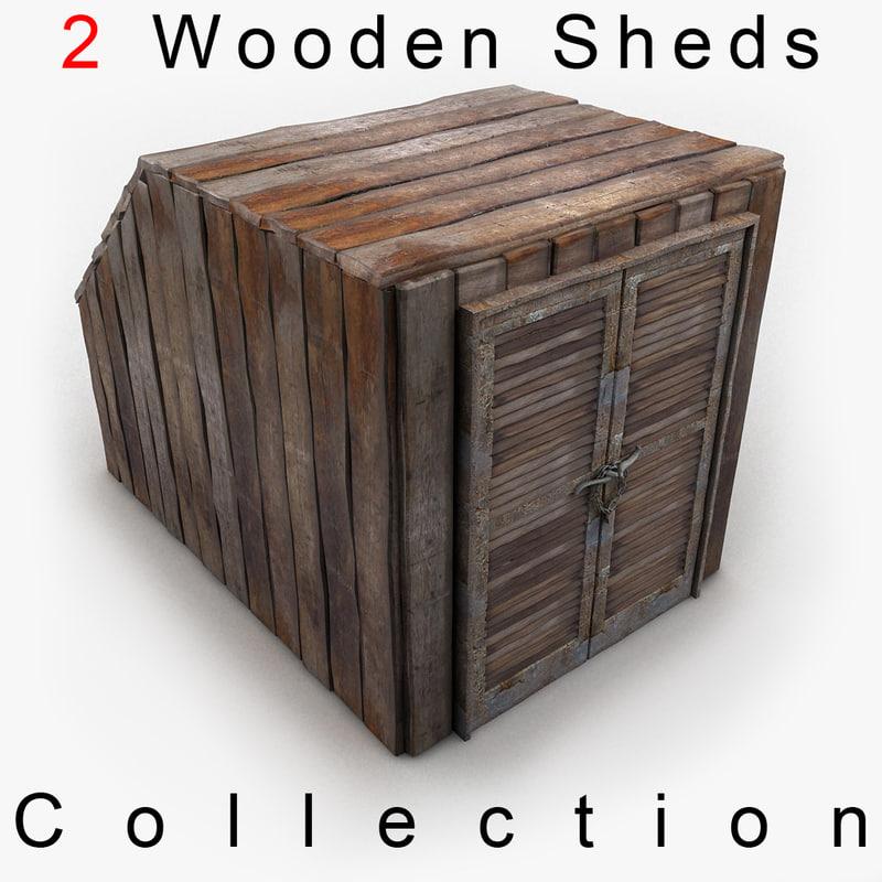 3d model wooden wood shed