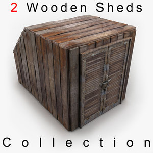 3d model wooden wood shed