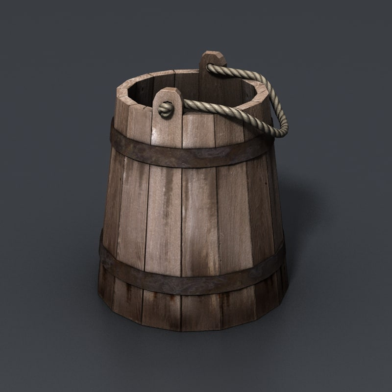 c4d bucket wooden wood