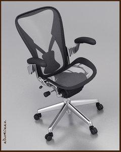 aeron office chair 3d max