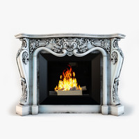 3d model classic fireplace