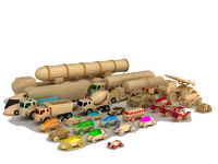 Wooden cars and trucks collection