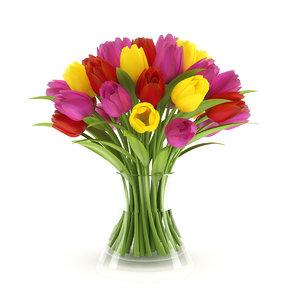 three-color tulips 3d model