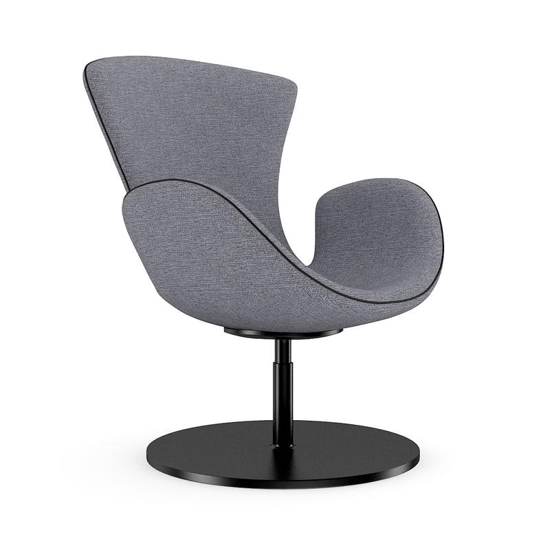 grey swivel armchair 3d c4d