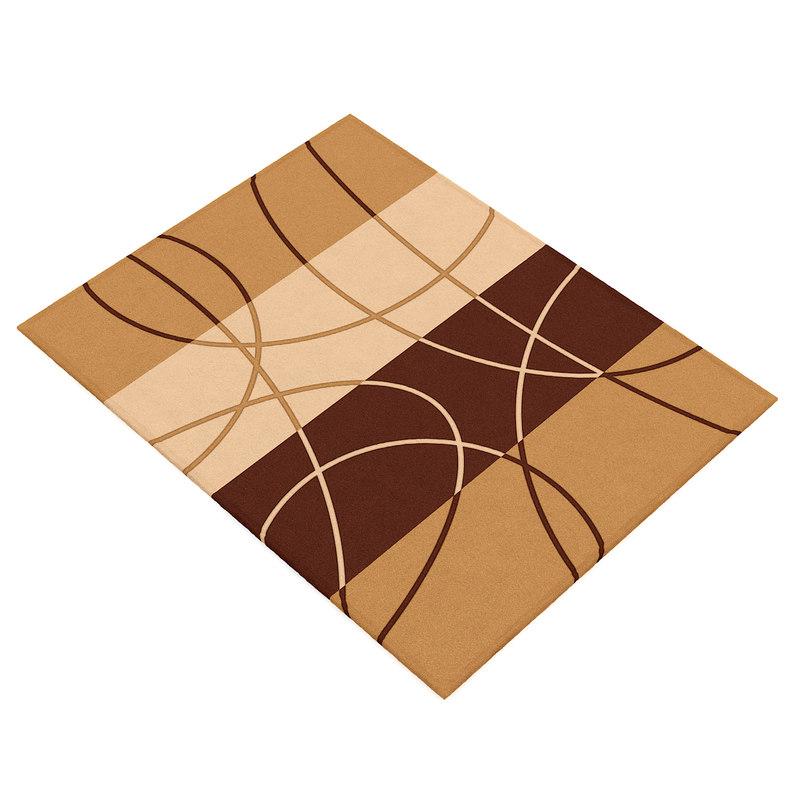 3d brown orange rug model