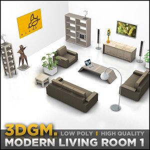 3d model living room furniture set