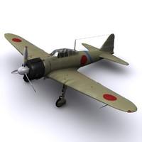 3d model a6m zero fighter air