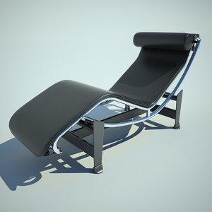 3d chaise longue cowhide model