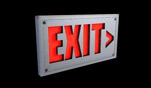 exit sign 3d c4d