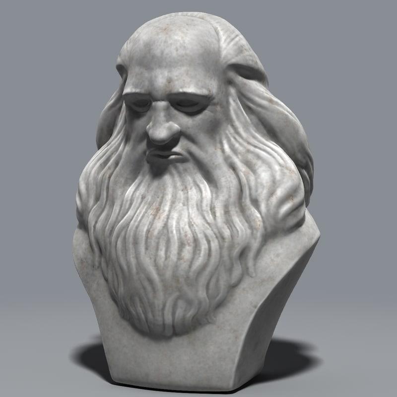marble bust leonardo da 3d model