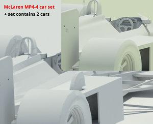 mclaren mp4-4 cars set 3d max