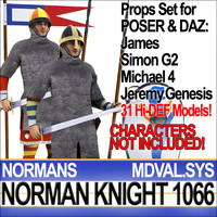 Props Set Poser Daz for Medieval Knight Norman & Breton 1066