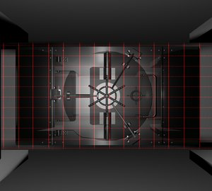 3d high-tech vault safe locking model