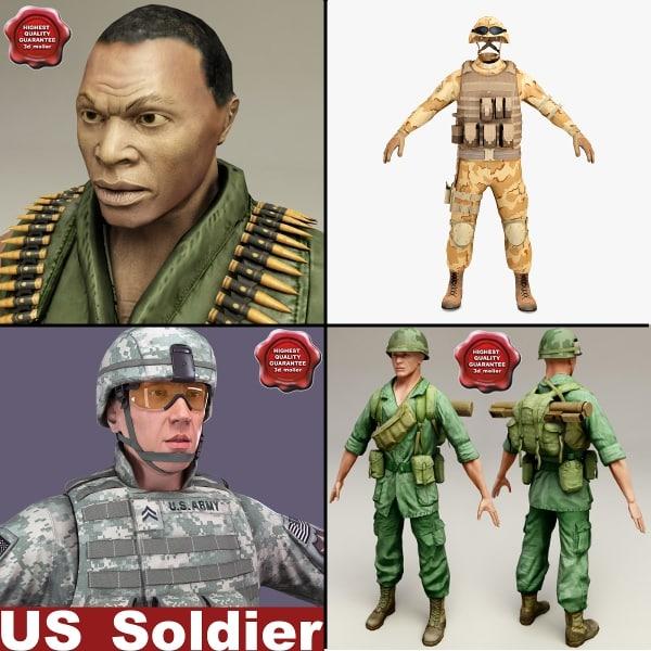 3d soldiers machine clothes