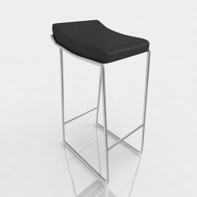 bar stool leather 3d obj