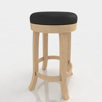 Bar stool 64 ash wood black leather