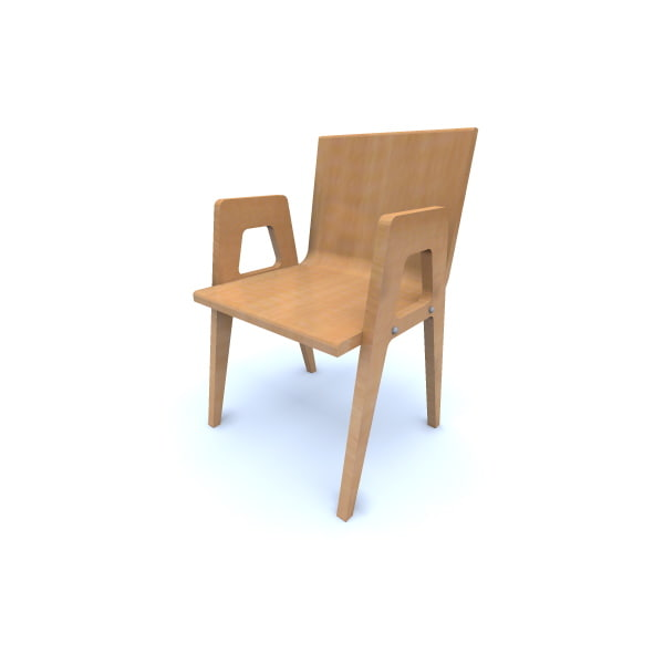 3d model curved wooden chair 70 s