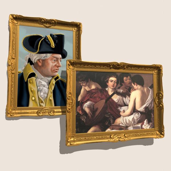 3d ornate picture frame model