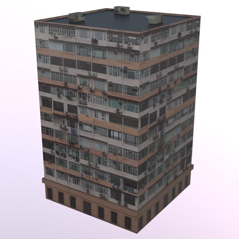 3d model rise apartment building