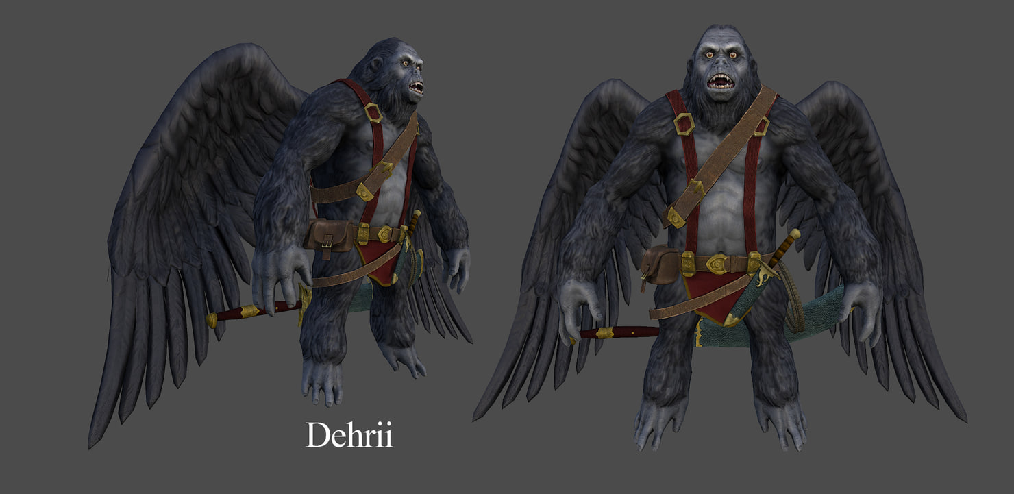 3d model of creature flying ape