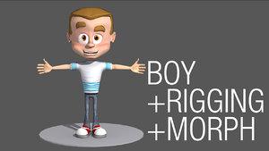 rigged cartoon boy character 3d model