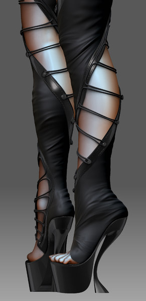 realistic sexy boots 3d max