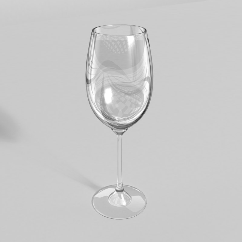 3d white wine glass