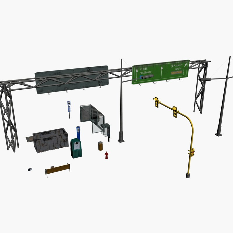 3d streetside objects container trashcan model