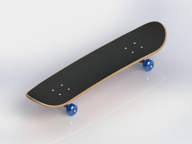 skateboard deck trucks 3d 3ds