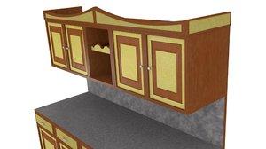 kitchen furniture 3d obj