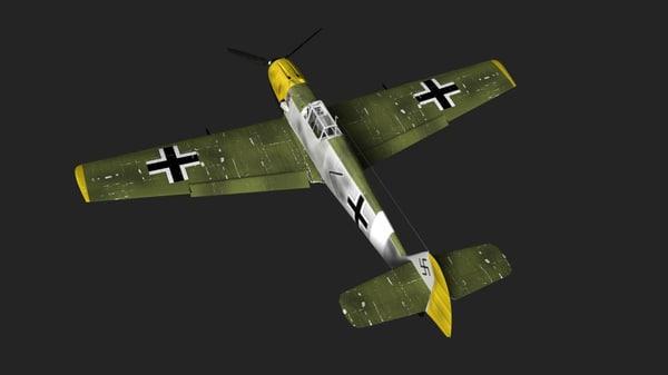 messerschmitt me-109e fighter 3d obj