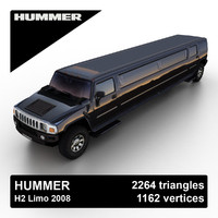 hummer h2 limousine 2008 3d max
