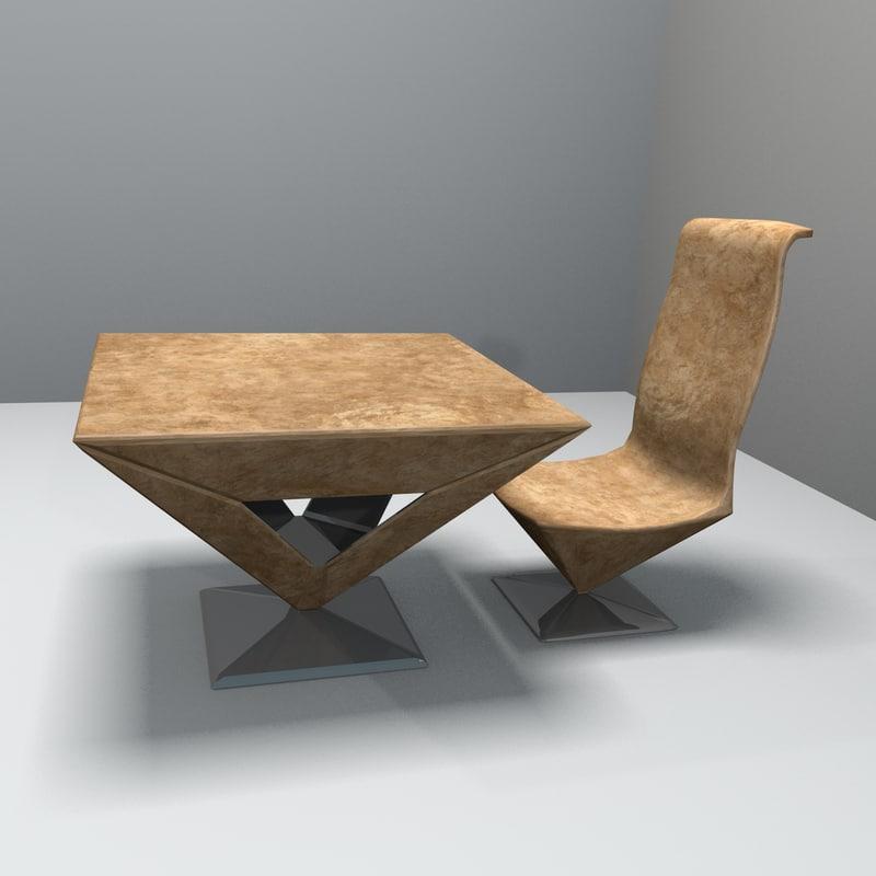 pyramid table chair obj