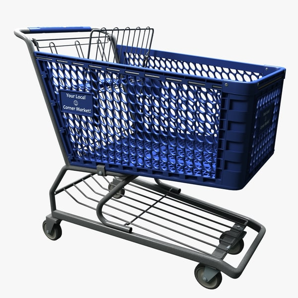 3d grocery store shopping cart model