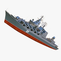 missile cruiser moskwa class 3d max