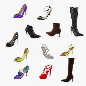 3d model footwear set lady