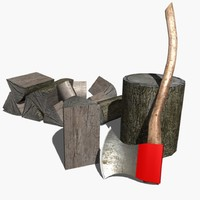 3d model axe wood