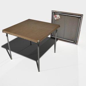 classic folding card table 3d model