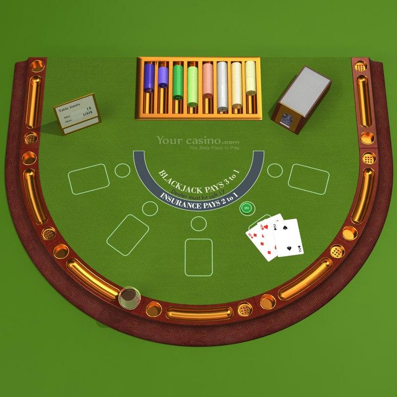 black jack table 3d obj