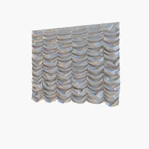 3d french curtain model